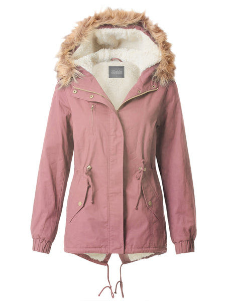 Womens Cozy Sherpa Lined Military Anorak Parka Hoodie Jacket with Pockets (WJC3591)