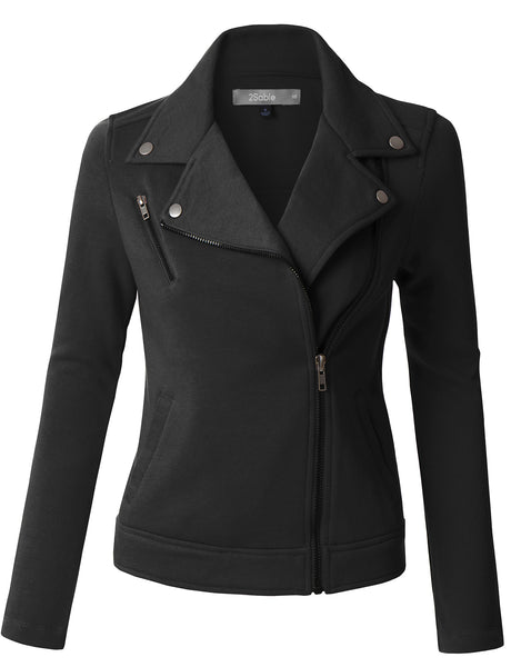 Womens Fleece Long Sleeve Zip Up Moto Jacket with Pockets (WJC3597)