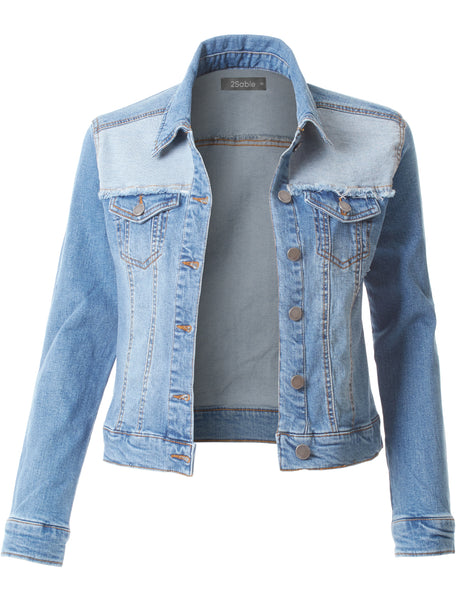 Womens Plus Size Vintage Distressed Ripped Long Sleeve Denim Jacket (WJC3623P)