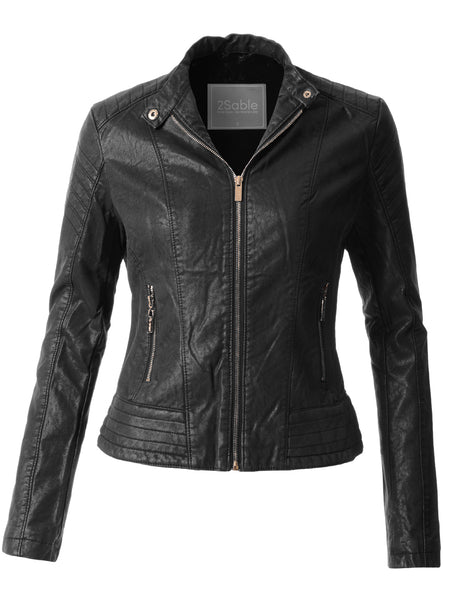 Womens Sherpa Fur Lined Quilted Faux Leather Biker Moto Jacket (WJC3626)