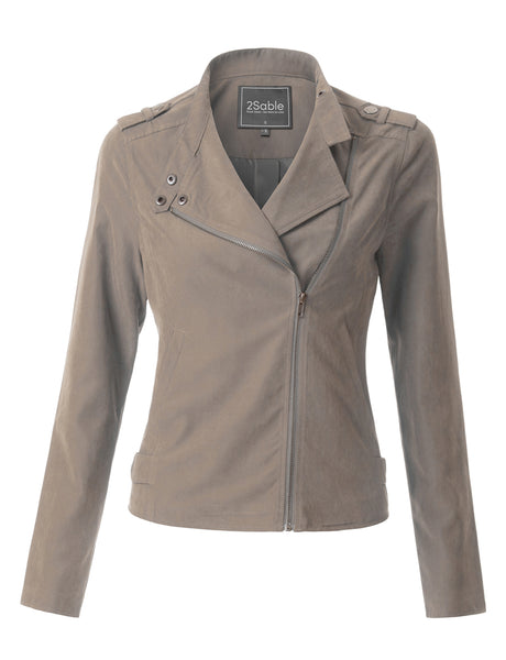 Womens Lightweight Faux Suede Zip Up Moto Biker Jacket (WJC3641)