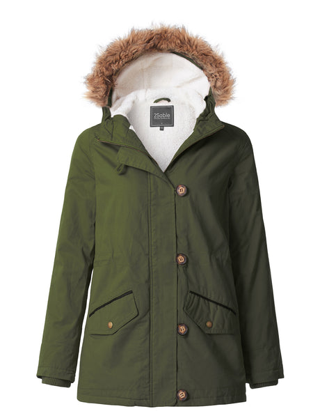 Womens Cozy Sherpa Lined Anorak Military Parka Jacket with Detachable Hoodie (WJC3644)
