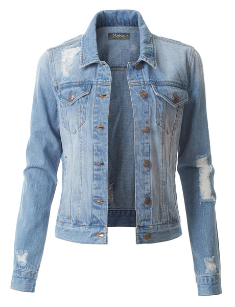 Womens Vintage Distressed Long Sleeve Ripped Boyfriend Denim Jacket (WJC3650)