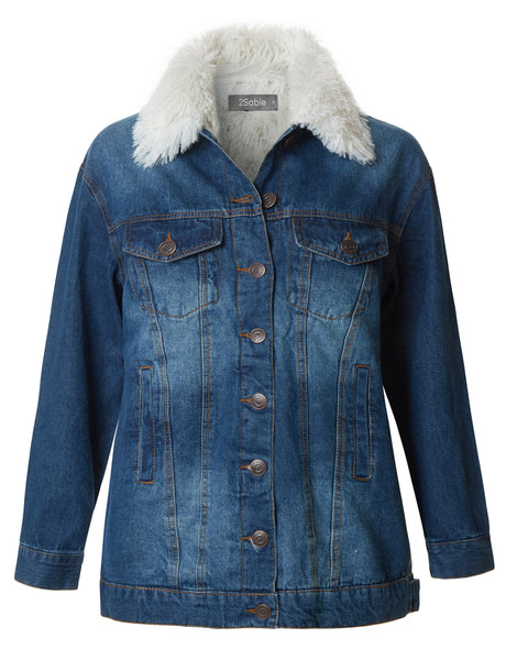 Womens Oversized Fleece Lined Fur Collar Denim Jacket with Pockets (WJC3702)