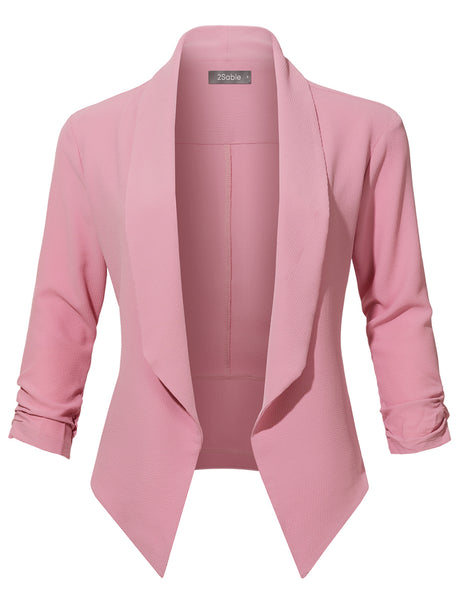 Womens Casual Office Open Front Ruched 3/4 Sleeve Cardigan Blazer Jacket(WJC3949)