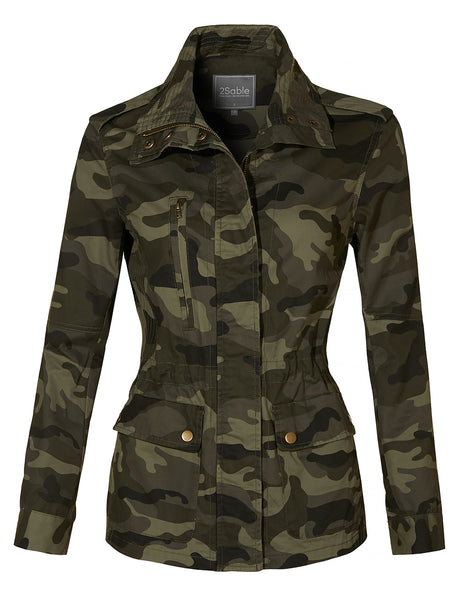 Womens Long Sleeve Drawstring Waist Camo Military Anorak Jacket with Pockets (WJC4115)