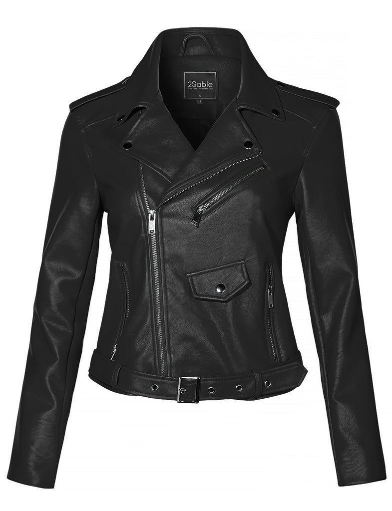 LADIES NEW FULLY LINED CROPPED BLACK FAUX LEATHER JACKET