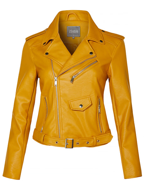 Womens Faux Leather Fully Lined Long Sleeve Zip Up Cropped Moto Biker Jacket (WJC4116)