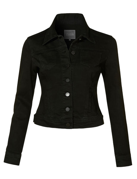 Womens Plus Size Stretchy Vintage Black Long Sleeve Denim Jacket with Pockets (WJC4118P)
