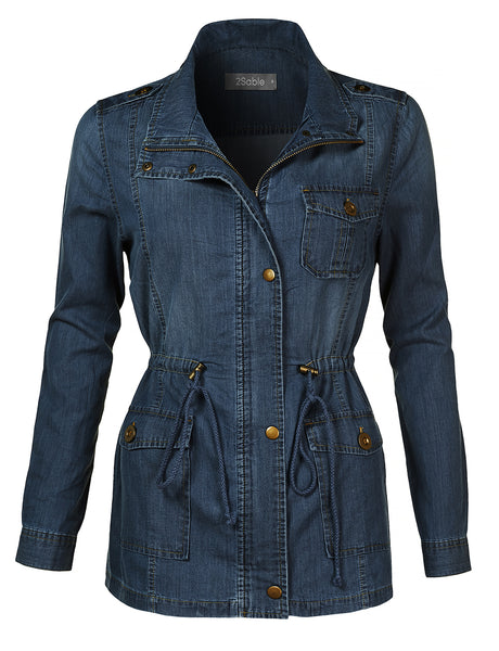 Womens Lightweight Long Sleeve Anorak Cotton Denim Jacket with Drawstring Waist (WJC4133)