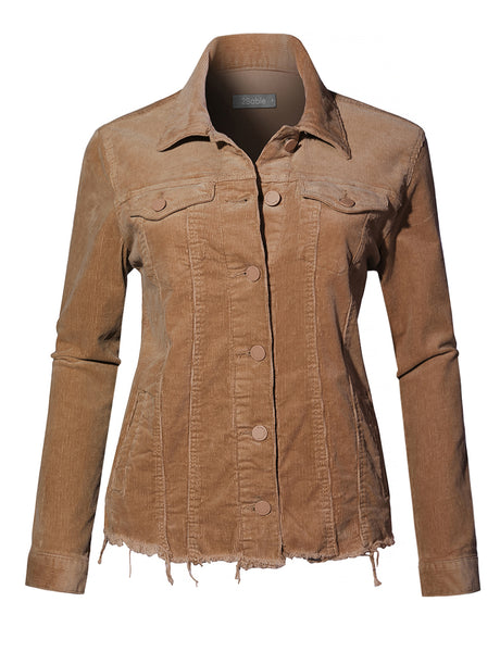 Womens Vintage Stretchy Long Sleeve Button Down Corduroy Jacket with Pockets (WJC4187)