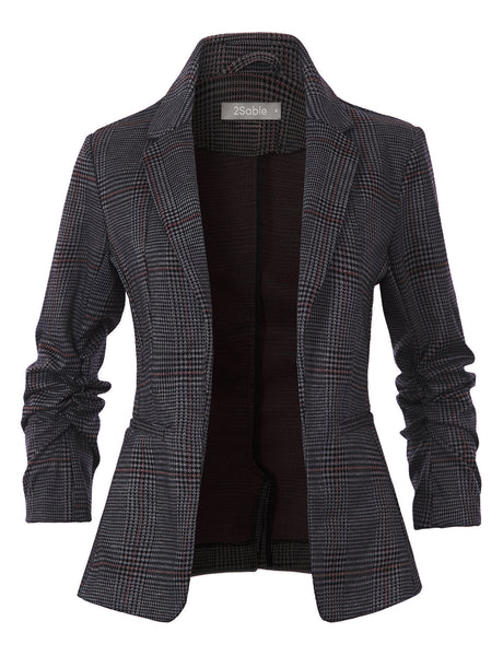 Womens Open Front 3/4 Sleeve Flannel Plaid Chequered Blazer Jacket with Pockets (WJC4196)