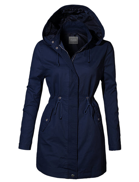 Womens Fully Lined Oversized Long Anorak Parka Military Jacket with Pockets (WJC4201)