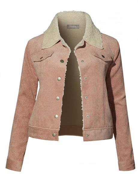 Womens Lightweight Faux Fur Long Sleeve Button Down Corduroy Jacket with Pockets (WJC4210)