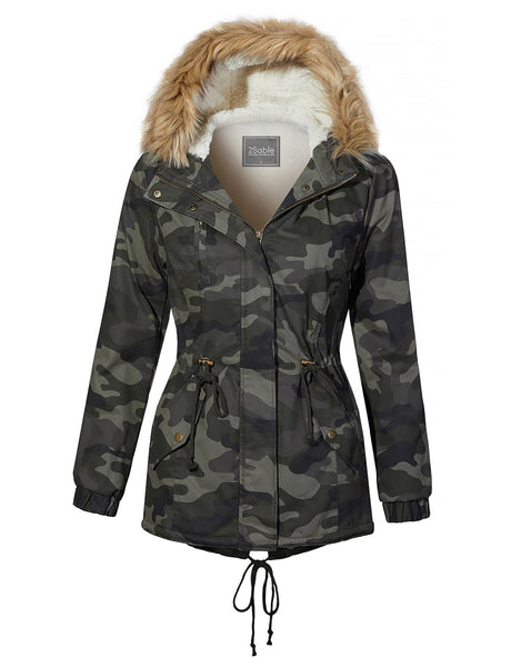 Womens Plus Size Sherpa Lined Camo Military Anorak Hoodie Jacket with Removable Faux Fur (WJC4218P)