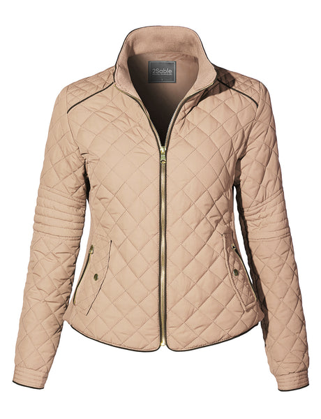 Womens Waterproof Quilted Long Sleeve Stand Collar Puffer Jacket with Pockets (WJC4221)