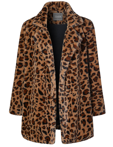 Womens Oversized Leopard Long Sleeve Open Front Coat Jacket with Pockets (WJC4222)