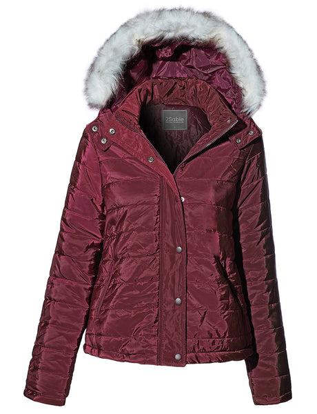 Womens Casual Active Waterproof Quilted Hoodie Jacket with Removable Faux Fur (WJC4224)