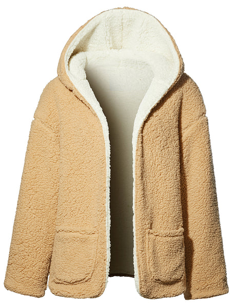 Womens Oversized Fuzzy Fleece Two Tone Reversible Hood Coat Jacket with Pockets (WJC4233)