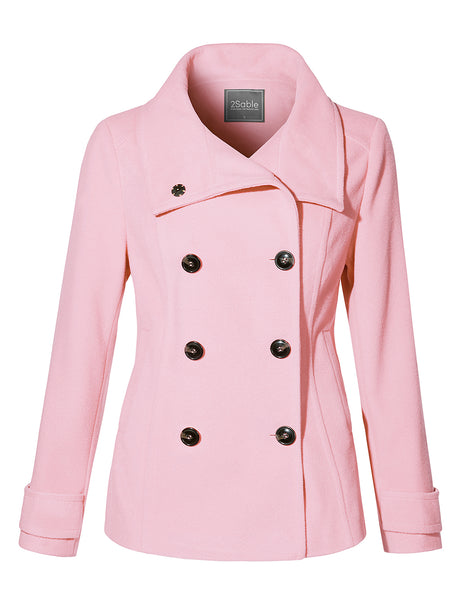 Womens Fully Lined Double Breasted Long Sleeve Wool Pea Coat Jacket with Pockets (WJC4238)