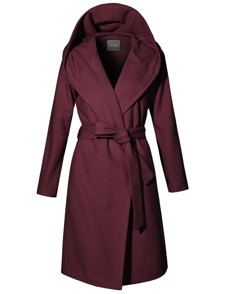 Womens Fully Lined Belted Hoodie Longline Trench Coat Jacket with Pockets (WJC4239)
