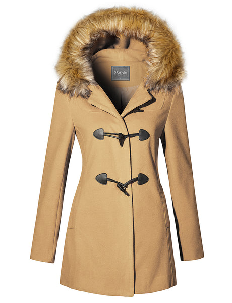 Womens Fully Lined Toggle Coat Jacket with Detachable Faux Fur on Hoodie (WJC4240)