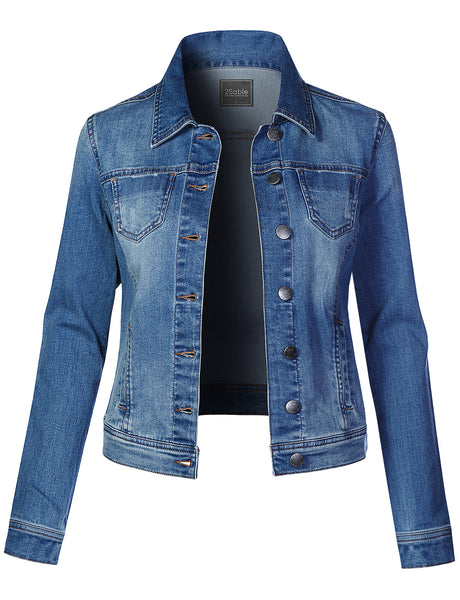 Womens Casual Vintage Distressed Long Sleeve Button Up Denim Jean Jacket (WJC4253)