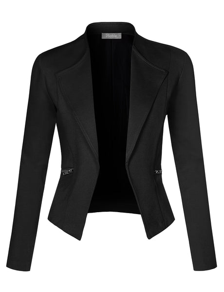 Womens Plus Size Work Office Open Front Long Sleeve Cropped Blazer Jacket Made in USA (WJC4261-P)