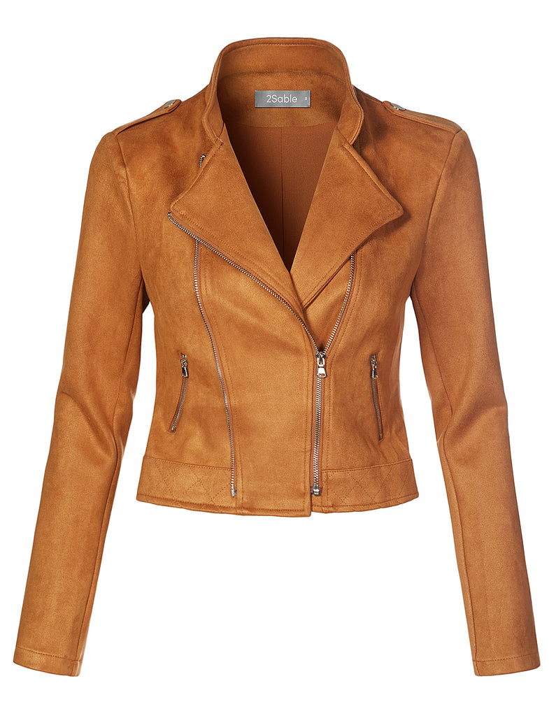 ff69db5a79e5 LE3NO Womens Faux Suede Zip Up Long Sleeve Cropped Biker Moto Jacket  (WJC4273). CAMEL ...