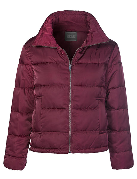 Womens Lightweight Waterproof Long Sleeve Stand Collar Puffer Jacket with Pocket (WJC4274)