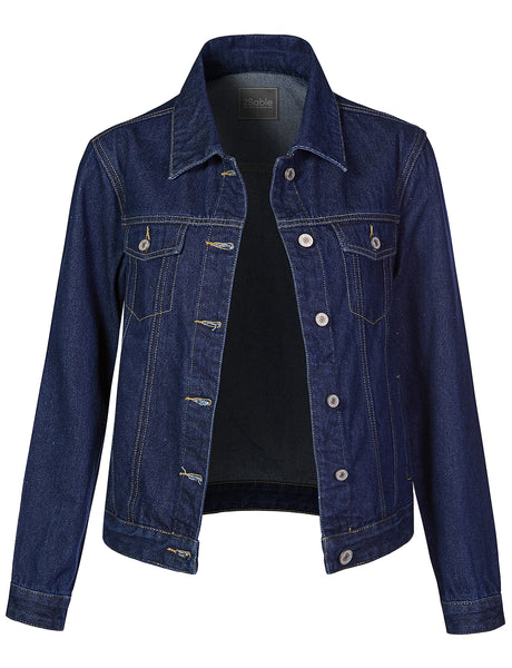 Womens Classic Regular Fit Long Sleeve Denim Jean Jacket with Pockets (WJC4277)