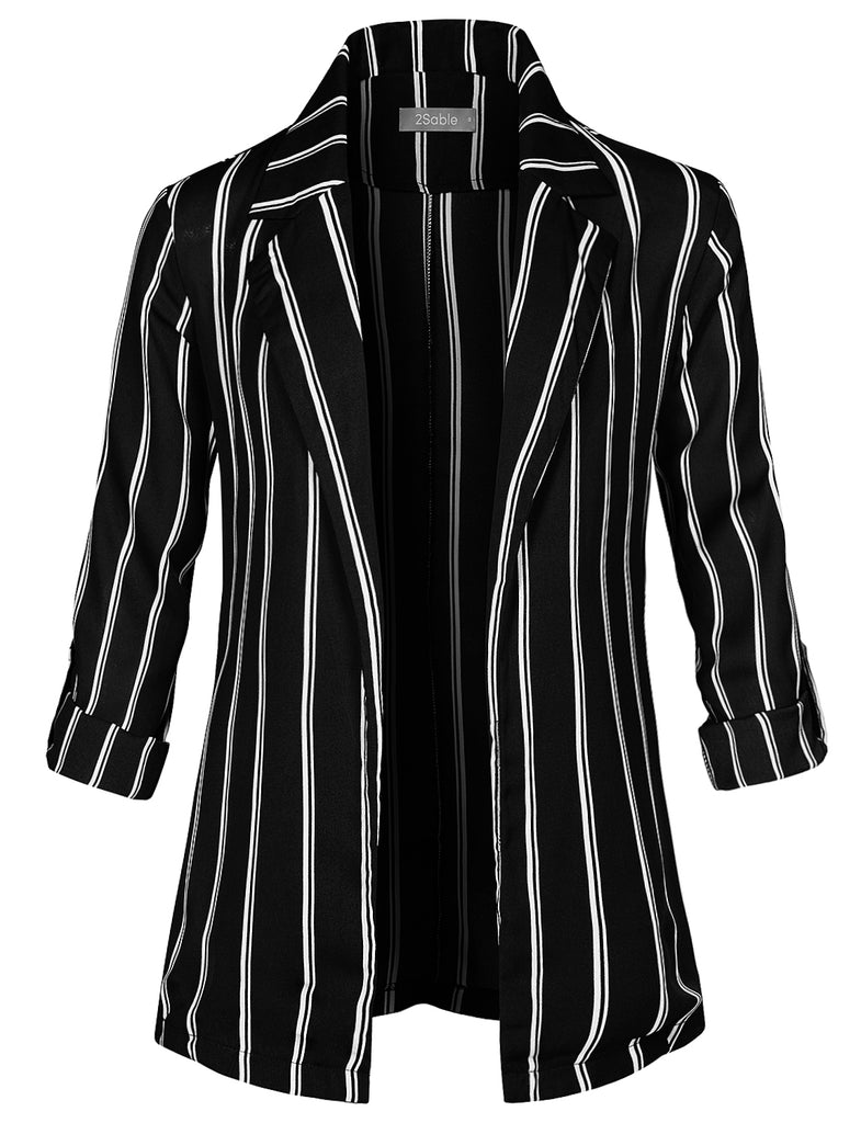 LE3NO Womens Ultra Lightweight Open Front Roll Up Long Sleeve Striped  Oversized Blazer (WJC4294) 4f6235bc3