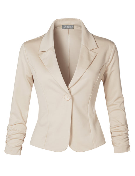 Womens Slim Fit Ruched Long Sleeve Single Button Down Work Office Blazer Jacket (WJC4305)