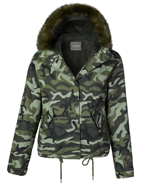 Womens Sherpa Lined Camouflage Anorak Military Bomber Jacket with Hoodie (WJC4311)