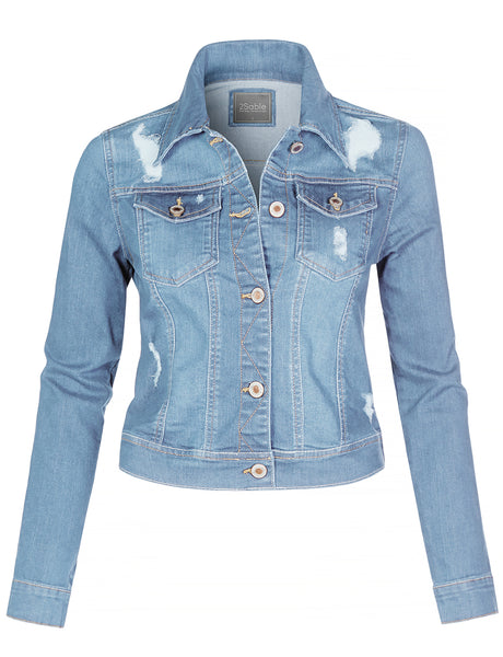 Womens Distressed Long Sleeve Button Down Slim Fit Denim Jacket with Stretchy (WJC4337)