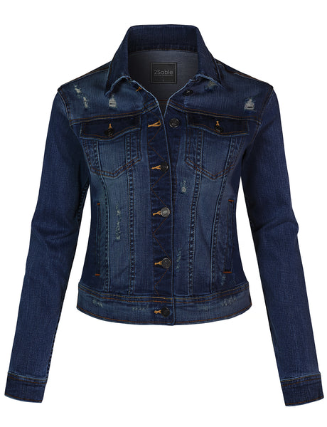 Womens Vintage Ripped Distressed Cotton Stretchy Button Down Denim Jean Jacket (WJC4371)