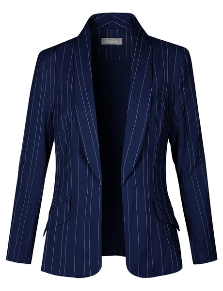 Womens Fully Lined Open Front Striped Blazer Jacket (WJC4378)