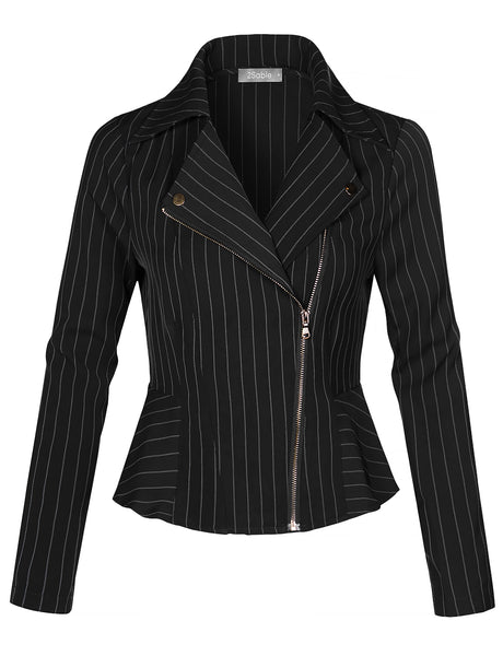 Womens Lighweight Long Sleeve Asymmetrical Striped Blazer Jacket (WJC4381)