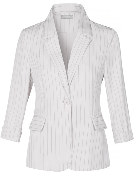 Womens Striped Single Button 3/4 Sleeve Blazer Jacket  (WJC4382)