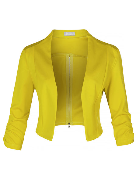 Womens Ruched 3/4 Sleeve Open Front Back Zipper Cropped Blazer Jacket (WJC4418)