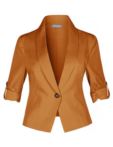 Womens Slim Fit Cinched 3/4 Sleeve Single Button Blazer Jacket (WJC4419)