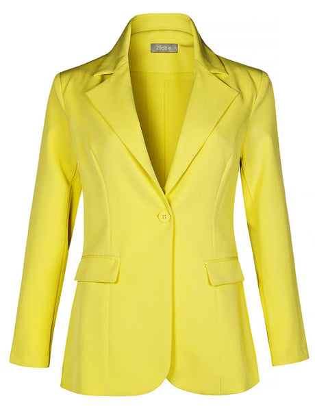 Womens Work Office Long Sleeve Single Button Blazer Jacket With Pockets (WJC4420)