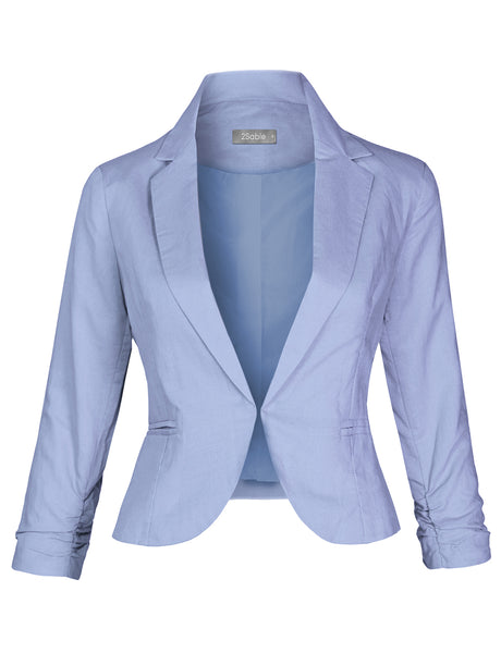 Womens Casual Lightweight 3/4 Ruched Sleeve Open Front Blazer Jacket (WJC4526)