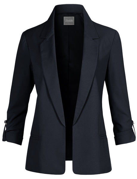 Womens Casual Notched Open Front Blazer Jacket With Roll Up Sleeve (WJC4605)