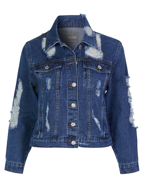 Womens Casual Long Sleeve Vintage Distressed Denim Jacket With Pockets (WJC4609)