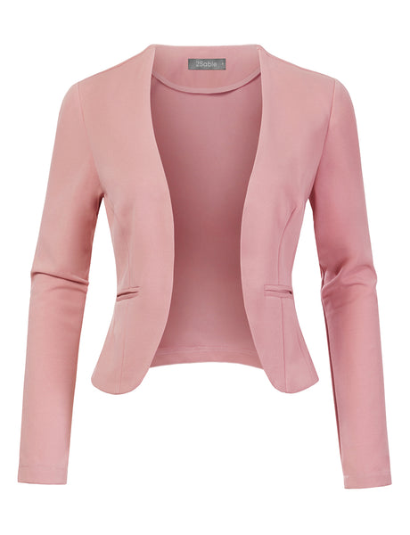 Womens Stretchy Long Sleeve Open Front Cropped Blazer Jacket (WJC4638)
