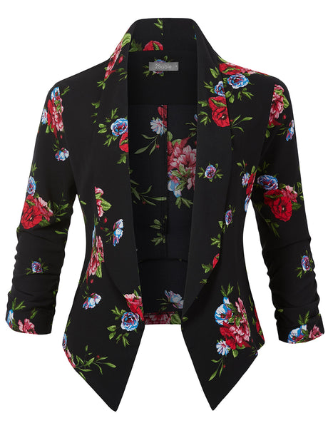 Womens Textured Floral Print  Open Front Ruched 3/4 Sleeve Blazer (WJC4652)