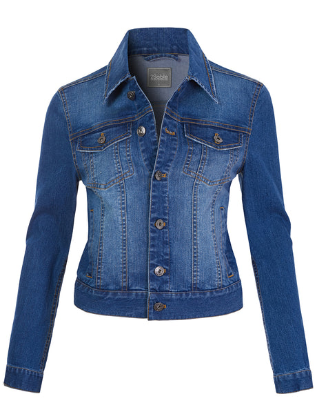Womens Classic Vintage Long Sleeve Button Down Denim Jean Jacket (WJC4690)