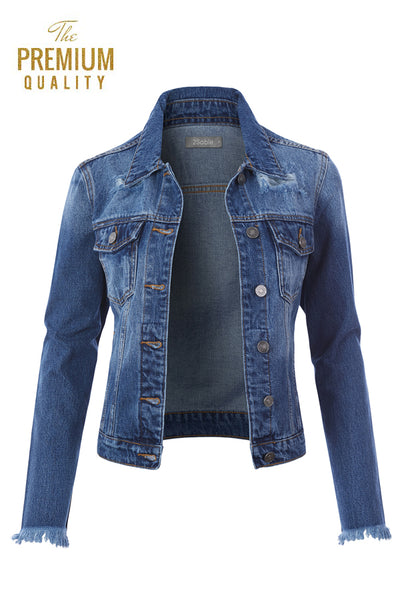 Womens Vintage Cotton Distressed Ripped Frayed Long Sleeve Denim Jean Jacket (WJC4715)