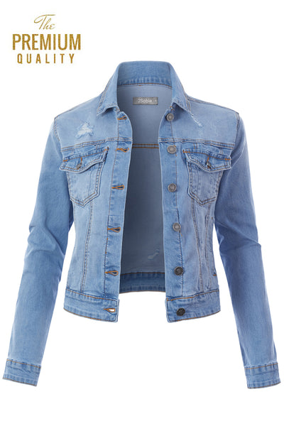 Womens Classic Vintage Cotton Ripped Button Down Denim Jean Jacket (WJC4718)
